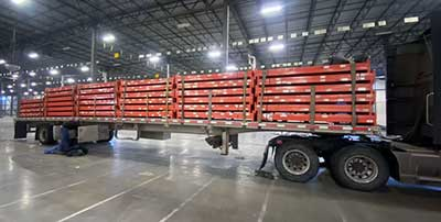 Used pallet rack on the truck